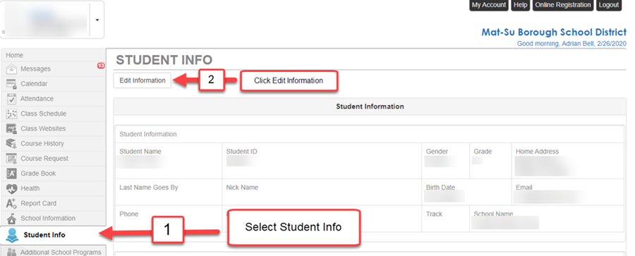 ParentVUE Edit Student Info