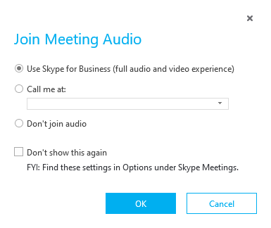 Join Meeting audio pop-up