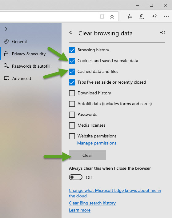 Clear Browsing Data options in EDGE