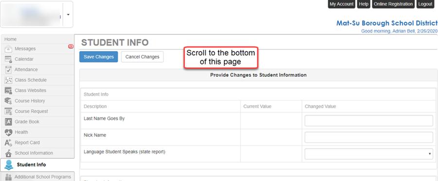 ParentVUE Student Info - Scroll down