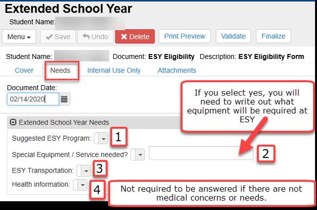 ESY Form - Needs tab