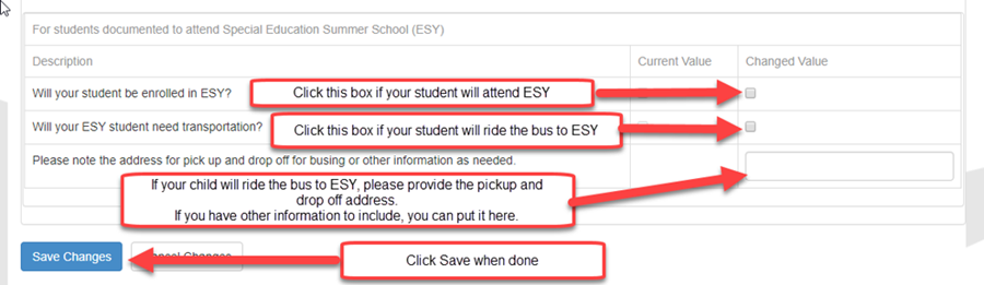 ParentVUE Student Info - add SSS ESY information and Save