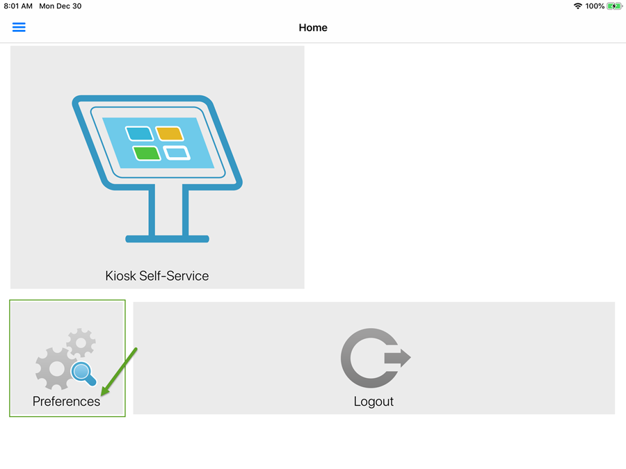 Admin Landing Page KioskVUE - Preferences