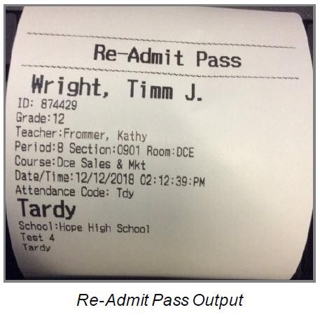 Printed tardy slip