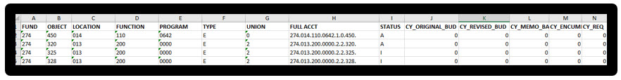 ACCOUNTS tab in Excel, before changes.